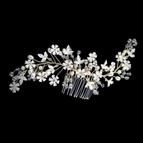 Comb wedding silver pearl flower