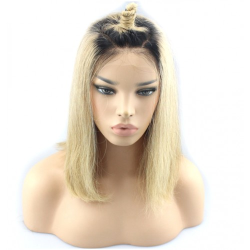 GLUELESS FULL LACE LISSE BOB OMBRE BLOND