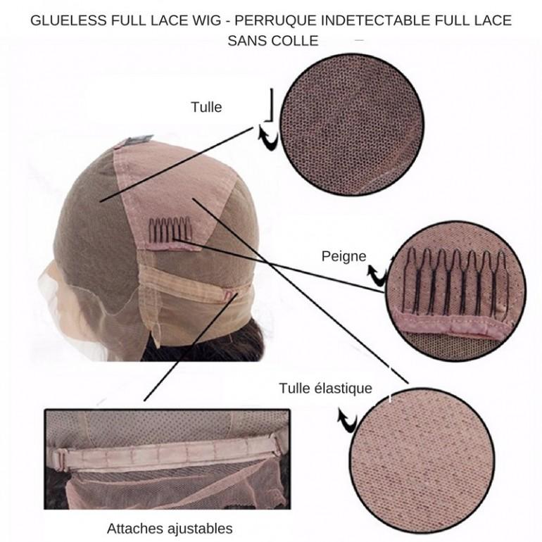 GLUELESS FULL LACE WIG CARRE PLONGEANT MALAISIEN NATUREL - Krôme